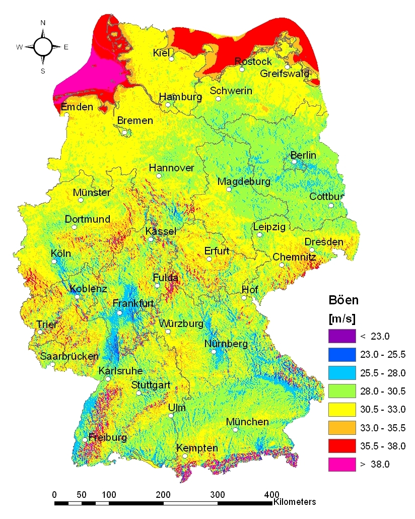Weather Map Of Germany.About Imk Tro Staff Storm Hazard And Storm Risk Map Germany Cedim